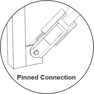 Pinned friction damper connection